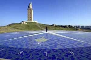 Fotos Spanien Leuchtturm Turm Tower Hercules Lighthouse, La Coruna, Galicia