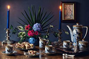 Hintergrundbilder Stillleben Sträuße Kerzen Hortensie Törtchen Tasse Kannen das Essen