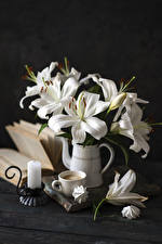 Wallpapers Still-life Lilies Candles Coffee Zefir Cappuccino Wood planks Vase White Cup flower Food