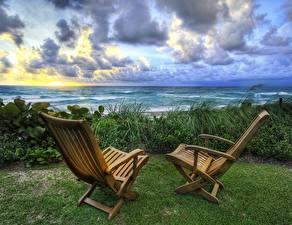 Desktop wallpapers Sunrise and sunset Sea Horizon Grass Wing chair 2 Nature