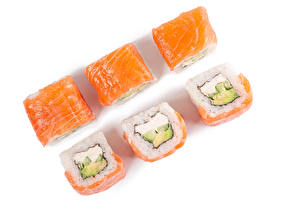 Wallpaper Sushi Fish - Food Closeup White background