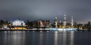 Pictures Sweden Stockholm Houses Ships Church Sailing Waterfront Skeppsholmen, Carl Johan Church