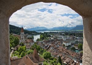 Wallpaper Switzerland Houses Lake Window Tun, Tun Lake Cities