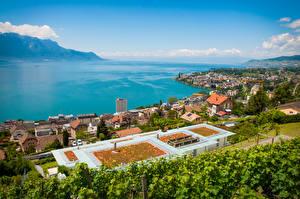 Fonds d'écran Suisse Lac Côte Maison Horizon Par le haut Montreux, Lake Geneva Villes