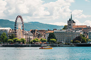 Pictures Switzerland Lake Speedboat Ferris wheel Geneva, Lake Geneva