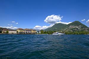 Fonds d'écran Suisse Lac Bateau fluvial Lugano, Lake Lugano, Ticino