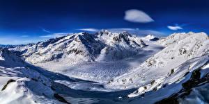 Fonds d'écran Suisse Montagne Alpes Neige Aletsch glacier Nature