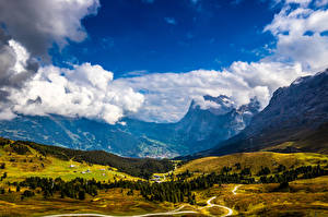 Photo Switzerland Mountain Alps Clouds Valley Jungfrau Nature