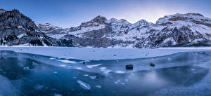 Fonds d'écran Suisse Montagnes Lac Alpes Glace Oeschinensee Nature