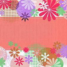 Fotos Vorlage Grußkarte Kreise Blütenblätter Mehrfarbige