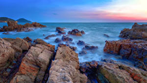 Desktop wallpapers Thailand Coast Sea Cliff Chanthaburi Nature