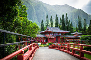 Wallpaper USA Bridges Mountains Temples Hawaii Trees Oahu, Byodo-In Temple, Ahuimanu