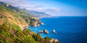 Fotos Vereinigte Staaten Küste Ozean Panorama Kalifornien Felsen Natur