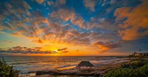 Photo USA Coast Sunrises and sunsets Ocean Sky California Clouds Beach Windandsea Beach Nature