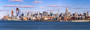 Bureaubladachtergronden Amerika Gebouw Wolkenkrabbers Panorama New York Midtown een stad