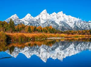 Image USA Mountain Parks Autumn Trees Grand Teton National Park, Wyoming Nature
