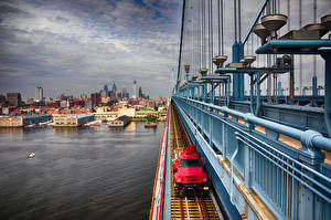Image USA River Bridges Houses Philadelphia, Benjamin Franklin Bridge Cities