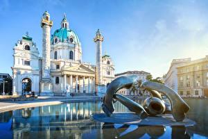 Photo Vienna Austria Church Sculptures Karlskirche Cities