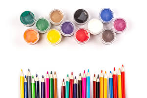 Wallpapers White background Pencils Multicolor Paint