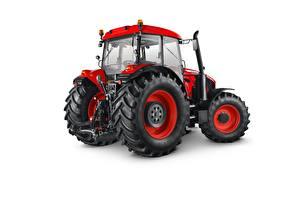 Bilder Traktor Rot Weißer hintergrund Zetor Crystal 160, 2015-18