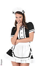 Images iStripper Miluniel Louis Maid Uniform Brown haired Staring Smile White background Hands Girls