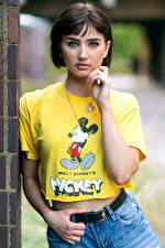 Pictures Staring T-shirt Hands Bokeh Abbie young woman