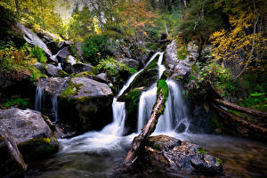 Wallpaper Andorra Stones Waterfalls Park Moss Vall del Madriu-Perafita-Claror