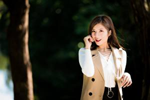 Image Asian Bokeh Brown haired Staring Smile Hands female