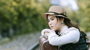 Wallpaper Asiatic Blurred background Staring Hat Hands young woman
