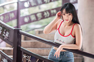 Images Asian Blurred background Singlet Hands Staring Brunette girl Girls