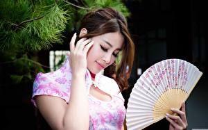 Desktop wallpapers Asian Brown haired Hands Hand fan Branches Girls