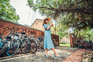 Picture Asiatic Gown Hat Bicycles young woman