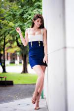 Bakgrundsbilder på skrivbordet Asiater Klänning Ben Suddig bakgrund ung kvinna