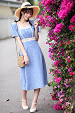 Desktop hintergrundbilder Asiatische Handtasche Kleid Der Hut junge frau