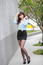 Bakgrundsbilder på skrivbordet Asiater Ben Kjol Blus ung kvinna