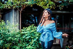 Bilder Asiatische Posiert Bluse Barett junge Frauen