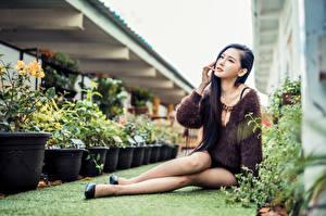 Hintergrundbilder Asiatische Sitzen Bokeh Bein Brünette junge Frauen