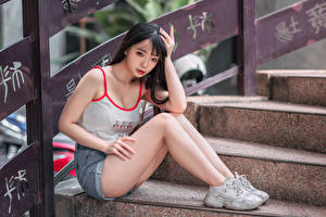 Pictures Asiatic Stairs Sit Legs Shorts Singlet Girls