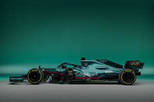 Fotos Aston Martin Formel 1 Grün Seitlich AMR21, 2021 Sport