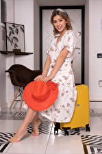 Wallpaper Avery 1997 Smile Dress Hat Suitcase Glance young woman