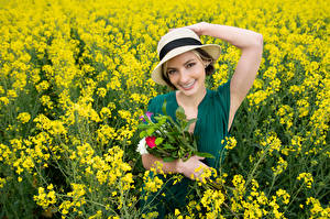 Picture Bouquet Oilseed rape Fields Smile Hat Glance Alena Girls