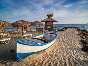 Photo Bulgaria Coast Boats Sand Sunlounger Beaches Parasol Nature