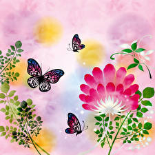Images Butterflies Painting Art Branches Paper