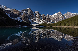 Pictures Canada Mountain Lake Reflected Moraine Lake Nature