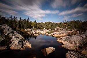 Hintergrundbilder Kanada Steine Quebec Bäume Wolke