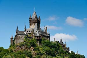 Sfondi desktop Castello Germania Colline Cochem Castle, Rhineland-Palatinate Città