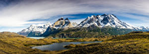 Desktop wallpapers Chile Mountain Park Panorama Clouds Torres del Paine National Park, Patagonia Nature