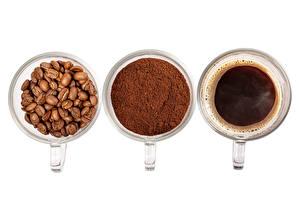 Bilder Kaffee Weißer hintergrund Tasse Drei 3 Getreide Puder das Essen