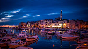Wallpaper Croatia Marinas Building Speedboat Boats Evening Rovinj