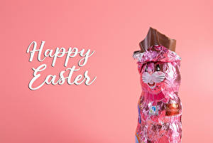 Pictures Easter Chocolate Hares Colored background Word - Lettering English Food